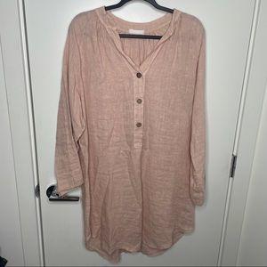 100% linen blush pink tunic top